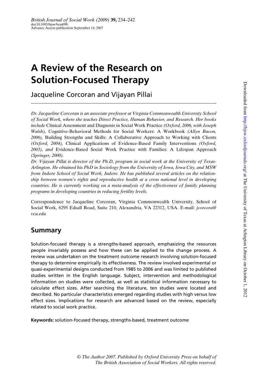 treatment manual for solution focused therapy pdf
