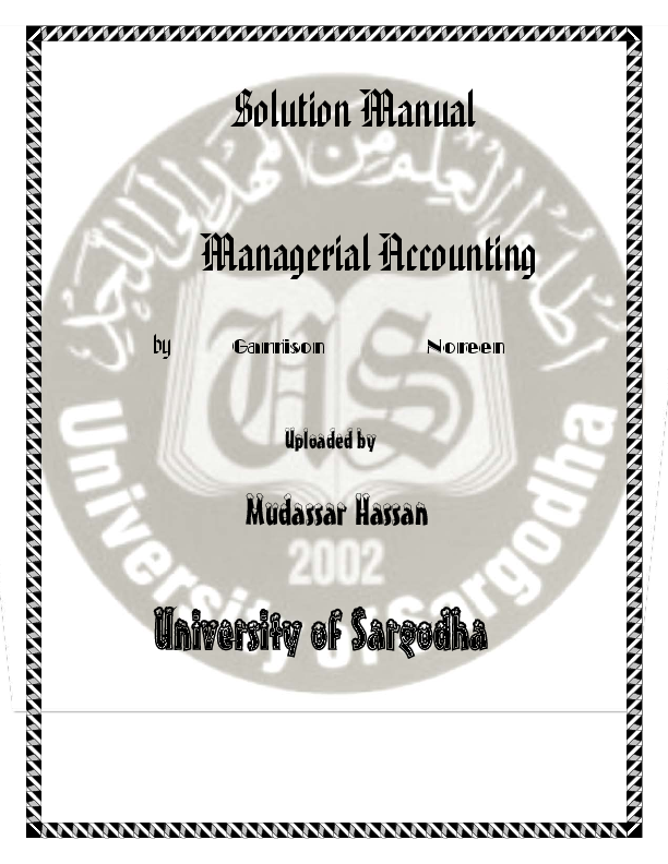 managerial accounting solution manual pdf